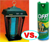 Bug zapper and bug spray